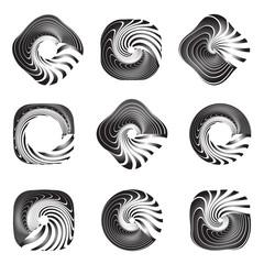 Design elements set. Twisting movement.