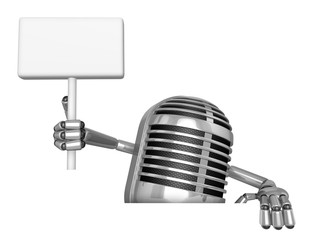 3D Classic Microphone Mascot hand is holding a picket and board.