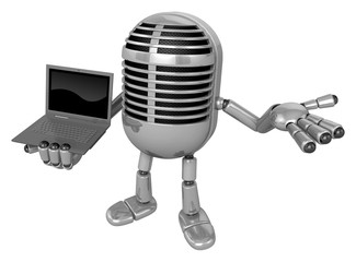 3D Classic Microphone Mascot the right hand guides and left hand
