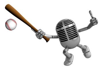 3D Classic Microphone Mascot a Baseball Batting. 3D Classic Micr
