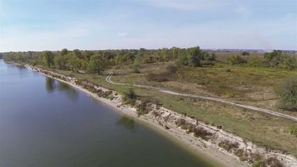 Coast of beautiful river Desna in Ukraine. Aerial Landscape