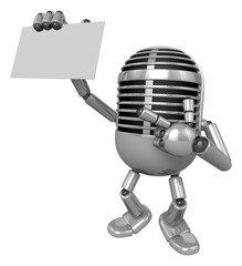 3D Classic Microphone Mascot the right hand guides and the left