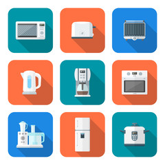 color flat style various kitchen devices set.