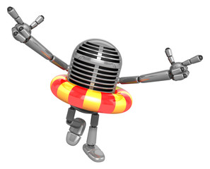 3D Classic Microphone Mascot To point the finger at you with bot