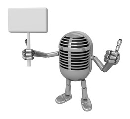3D Classic Microphone Mascot the right hand best gesture and lef