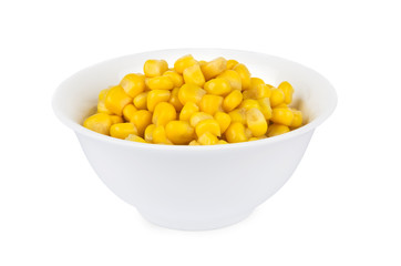 Canned sweet corn in glass