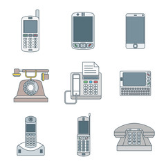 colored outline various phone devices icons set.