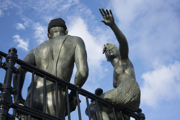 """Sculpture named """"people like us"""", in Cardiff Bay"""