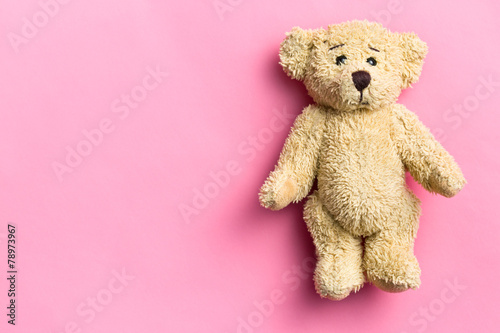 teddy bear on pink background - 78973967