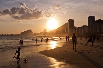 Warm Sunset in Copacabana Beach in Rio de Janeiro