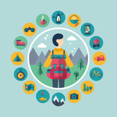Camping and traveling concept with flat stylish icons