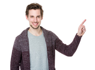 Caucasian man with finger point upwards