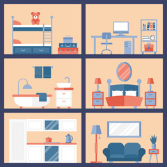 Flat stylish icons for room furniture concept design