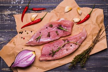 Raw turkey steaks with spices
