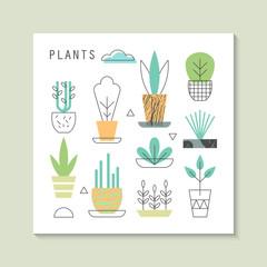 Plants stylish icons for design