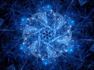 Blue glowing magic snowflake