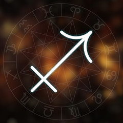 Zodiac sign - Sagittarius. White thin line astrological symbol