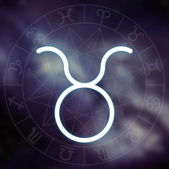 Zodiac sign - Taurus. White thin simple line astrological symbol