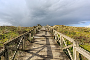 Sea coast dune with wooden walkway