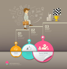 Circles paper step, business man infographic
