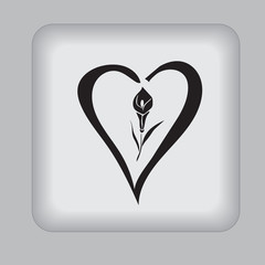 love, black, icon, flower, lily, vector, illustration