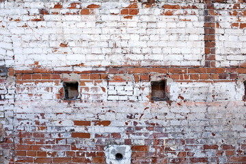 Old brick wall of the house.