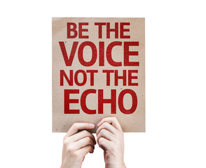 Be the Voice not the Echo card isolated on white background