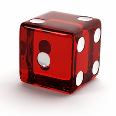 Semi transparent red die over white background