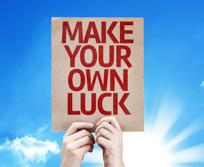 Make Your Own Luck card with sky background