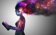 Leinwanddruck Bild - Universe woman