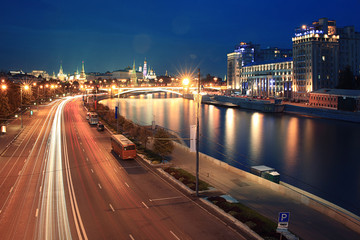 Night view of Moscow Kremlin Russian landscape