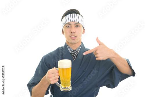 canvas print picture ビールを運ぶウェイター