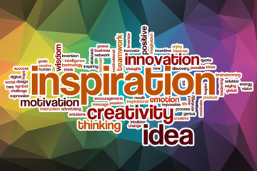 Inspiration word cloud with abstract background