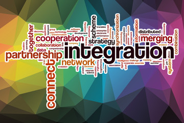Integration word cloud with abstract background