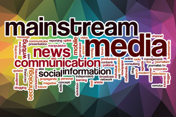 Mainstream media word cloud with abstract background