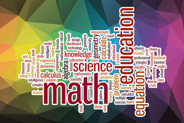 Math word cloud with abstract background