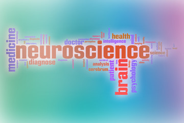 Neuroscience word cloud with abstract background