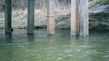 Old bridge supports in river
