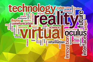 Virtual reality word cloud with abstract background