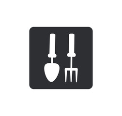 Gardening tools icon Rounded squares button, on white background
