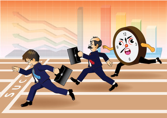 Businessman running a race against time