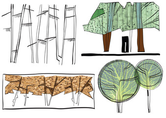 TREES, SHRUBS and FOLIAGE in Architecture before Digital Revolut