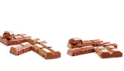 Pieces of tile porous milk chocolate
