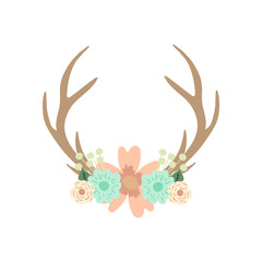 Deer antlers and flowers. Vector illustration.