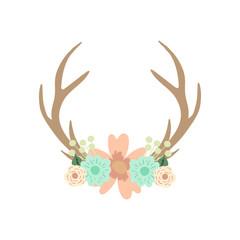 Deer antlers and flowers. Vector illustration.