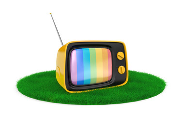 Retro TV on the grass