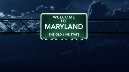 Maryland USA State Welcome to Highway Road Sign at Night