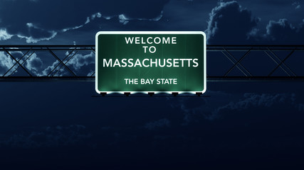 Massachusetts USA State Welcome to Highway Road Sign at Night