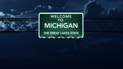 Michigan USA State Welcome to Highway Road Sign at Night