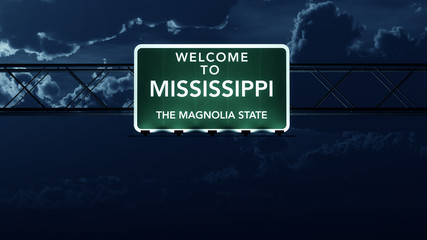 Mississippi USA State Welcome to Highway Road Sign at Night